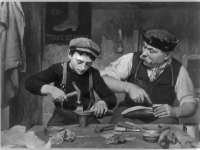 Man and boy making shoes. Reproduction of a painting by Louis Emile Adan (1839-1937), © Braun & Co., N.Y. (Source: Wikimedia Commons)