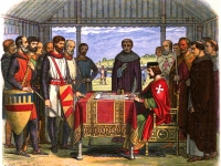 King John signs the Magna Carta, engraving by James William Edmund Doyle, 1864 (Source: Wikimedia Commons)