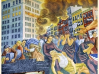 The Triangle Shirtwaist Factory fire in New York City on March 25, 1911, detail from a commemorative mural by Ernest Fiene, 1938–40, at the High School of Fashion Industries, New York