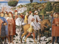 St. Augustine Departing for Milan, detail from a fresco in the apsidal chapel, Sant'Agostino, San Gimignano, by Benozzo Gozzoli, 1464-65