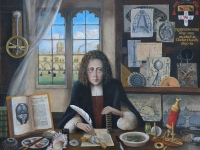 Robert Hooke, at Christ Church Oxford, where he studied surrounded by some of his inventions. Painting by Rita Greer 2011 (Source: Wikimedia Commons)