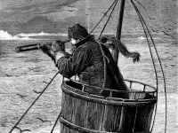 The Arctic Expedition - the Crow's Nest. Cover illustration (detail) for The Graphic, May 1875, by Samuel Edmund Waller