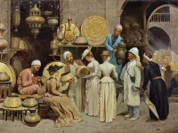 'Dans le Souk aux Cuivres', Nicola Forcella, an Italian painter born before 1868 (Source: Wikimedia Commons)
