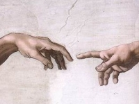 The Creation of Adam, Sistine Chapel, fresco detail, 1509, by Michelangelo