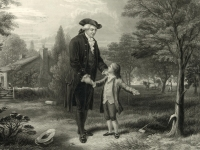 George Washington and the cherry tree. A lithograph by John C. McRae, 1867, after a painting by G. G. White