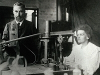 Pierre and Marie Curie in their laboratory, 1906 (Source: Wikimedia Commons)