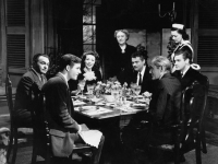 Richard Long, Edward G. Robinson, Loretta Young, Martha Wentworth, Orson Welles, Philip Merivale, Byron Keith, in The Stranger, 1946, directed by Orson Welles (Source: Wikimedia Commons)