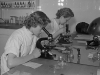 Untersuchungen am Mikroskop im Labor, 1952, Deutsche Fotothek (Source: Wikimedia)