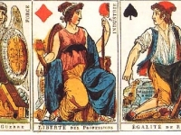 Playing cards from the French Republic (1793-94), revolutionary images replace Kings and Queens