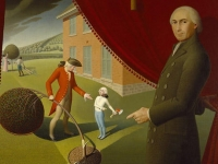 Painting depicting Parson Weems and his famous story of George Washington and the Cherry Tree. Grant Wood (Courtesy: Amon Carter Museum of American Art)