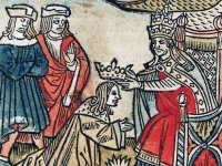 Pepin being crowned King of the Franks by St. Boniface in 751, engraving by Robert Gaguin, Paris, 1514