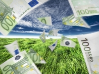 Concept of euro money or cash flow, either positive or negative.