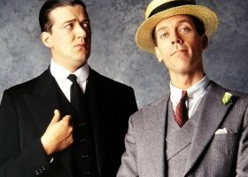 Stephen Fry and Hugh Lawrie as 'Jeeves and Wooster' a 1990s British TV adaptation by Clive Exton from P.G. Wodehouse's 'Jeeves' stories. The series was a collaboration between Brian Eastman of Picture Partnership Productions and Granada Television