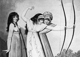 Archers, engraved after a drawing by Adam Buck,1799 (Detail). (Source: Wikimedia Commons)