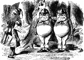 Tweedledee and Tweedledum, John Tenniel, an illustration for 'Through the Looking-Glass' by Lewis Carroll, 1871