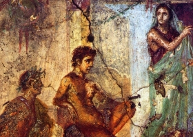 A scene from 'Iphigenia in Tauris' by Euripides. Roman fresco in Pompeii (Source: Wikimedia Commons)