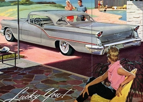 1957 Oldsmobile Starfire 98 Coupe, detail from advert in Life Magazine April 1957