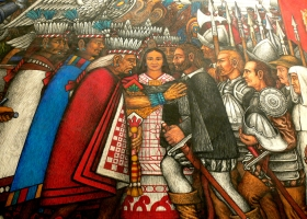 Taxcaltecans meets Hernan Cortez. Mural created by Desiderio Hernandez Xochitiotzin 1956-2000. Palacio de Gobierno, Tlaxcala City (Source: Wikimedia Commons)
