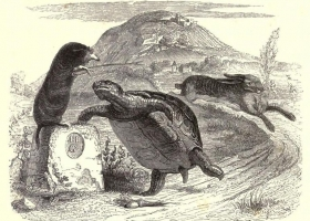The Hare and the Tortoise, Jean Grandville (1803-1847) from the 1855 edition of La Fontaine's Fables (Source: Wikipedia Commons)