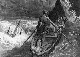 The Pilot Faints, from Coleridge's Rime of the Ancient Mariner, illustrated by Gustave Doré, published 1798