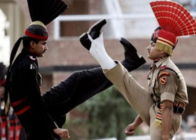 "The Wagah border often called the ""Berlin wall of Asia"", is a ceremonial border on India–Pakistan Border,"