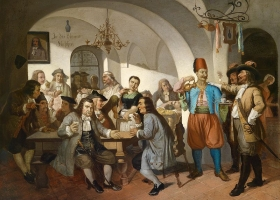 The Blue Bottle coffee house founded in 1686 in Vienna. Painting c.1900 (Source: Wikimedia Commons)