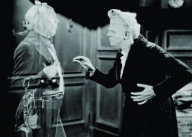 Scrooge played by Reginal Owen and Marley's Ghost by Leo Caroll. Dicken's The Christmas Carol, © 1938 Warner Bros, distributed by MGM