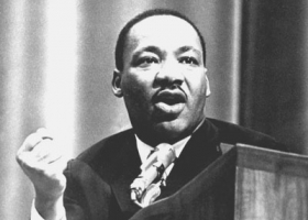 Martin Luther King, Jr. gives a speech during his MSU visit, 1965 (Source: Michigan State University archives)