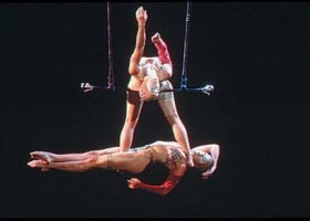 The Steben Twins, famous trapeze artists and innovators of the feet-to-feet catching technique (Source: Wikimedia Commons)