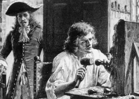 John Evelyn discovers sculptor Grinling Gibbons (1648 - 1721). Gibbons became Master Carver in Wood to the Court of King Charles II
