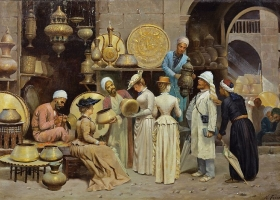 'Dans le Souk aux Cuivres', Nicola Forcella, an Italian painter born before 1868 (Source: Wikimedia Commons)