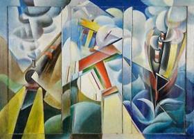 Dinamismo di Treno Nave Aereo, 1929, by Italian futurist painter Giulio D'Anna (Source: Wikimedia Commons)