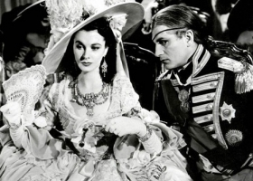 """Your reputation precedes you"" Lord Nelson to Lady Hamilton. Laurence Olivier and Vivien Leigh in That Hamilton Woman, 1941, produced and directed by Alexander Korda, distributed by United Artists."