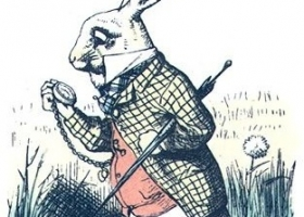 The White Rabbit, by Sir John Tenniel (1820 –1914), an illustration from the original edition of Lewis Carroll's Alice in Wonderland