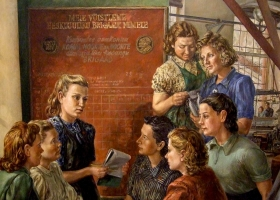 Women Workers in Estonia, unknown artist from the soviet period (Courtesy: ussrpainting.blogspot.com)