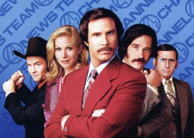 Anchorman: The Legend of Ron Burgundy, 2004, directed by Adam McKay, starring Will Ferrell. Also also written by Ferrell and McKay. Distributed by  DreamWorks Pictures