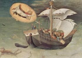 St Nicholas saves a storm-tossed ship, Gentile da Fabriano(c.1425)