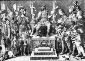 Holy Roman Emperor Charles V, enthroned over his defeated enemies, Giulio Clovio, mid 16th century