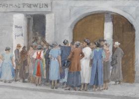 Gedränge vor dem Geschäft Thomas Prewein, by Josef Engelhart, 1941 (Source: Wikimedia Commons)