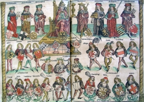 Organizational Structure  of the Holy Roman Empire, Nuremberg Chronicles, by Hartmann Schedel, 1493
