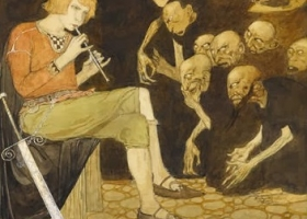 A watercolour by Gustaf Tenggren, 1918-19. An alternative version was used to illustrate an edition of Grimm's Fairy Tales published 1922.