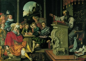 A lecture in rhetoric at a knight academy, Pieter Isaacsz or Reinhold Timm, 1620 (Courtesy: Rosenborg Castle, Denmark)