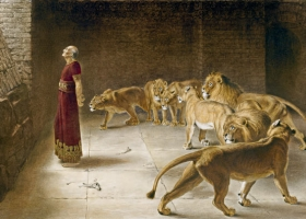 Daniel's Answer to the King, Briton Rivière, Mezotint, 1892 (Source: Wikimedia Commons)