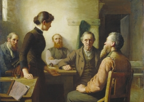 A Meeting of the School Trustees, Robert Harris, 1885 (Courtesy: National Gallery of Canada)