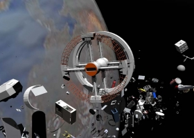 SpaceJunk, Miguel Soares, 2001, 3D animation (Source: Wikimedia Commons)