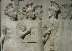Marble relief of the Roman Praetorian Guard c50AD (Courtesy: Louvre-Lens Museum, Lens, France)