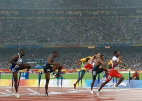 Dayron Robles winning the 110 meters hurdles at the Beijing Olympic Games, 2008 (Source: Wikimedia)