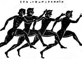 A foot-race at the Panathenaea, Greece, 800-480 BC (Source:  Encyclopædia Britannica)