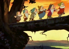 The seven dwarfs, Snow White, 1937, produced by Walt Disney Productions (Source: Wikimedia Commons)
