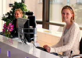 Receptionists at DICE in Stockholm, 2008 (Source: Wikimedia Commons)